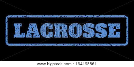 Blue rubber seal stamp with Lacrosse text. Vector caption inside rounded rectangular banner. Grunge design and unclean texture for watermark labels. Horisontal emblem on a black background.