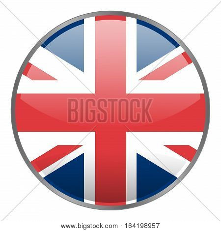 Round glossy vector icon with national flag of United Kindom on white background. Isolated Great Britain icon.