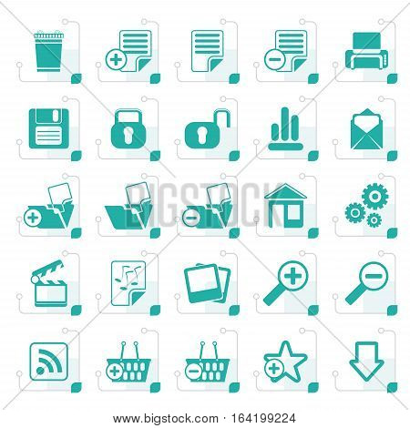 Stylized 25 Simple Realistic Detailed Internet Icons - Vector Icon Set