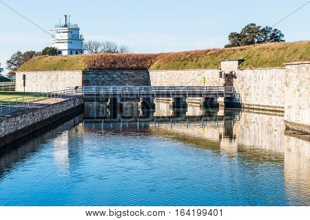 Fort Monroe fortress with bridge and moat in Hampton, Virginia.