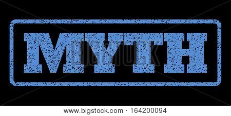 Blue rubber seal stamp with Myth text. Vector caption inside rounded rectangular banner. Grunge design and dust texture for watermark labels. Horisontal sticker on a black background.
