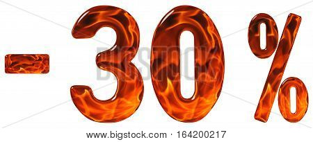 Percent Off. Discount. Minus 30, Thirty  Percent, Numerals Isolated On White Background