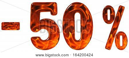 Percent Off. Discount. Minus 50, Fifty  Percent, Numerals Isolated On White Background