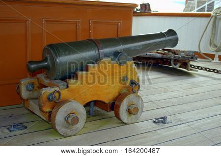 Old-fashioned, retro, vintage, antique canon used in historic army battles