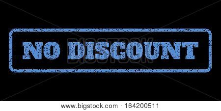 Blue rubber seal stamp with No Discount text. Vector tag inside rounded rectangular shape. Grunge design and dust texture for watermark labels. Horisontal sticker on a black background.