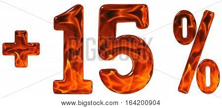 Percent Benefits, Plus 15, Fifteen  Percent, Numerals Isolated On White Background