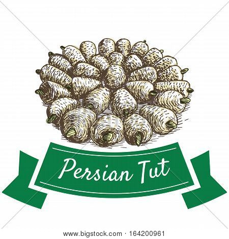 Persian Tut colorful illustration. Vector illustration of Persian cuisine.