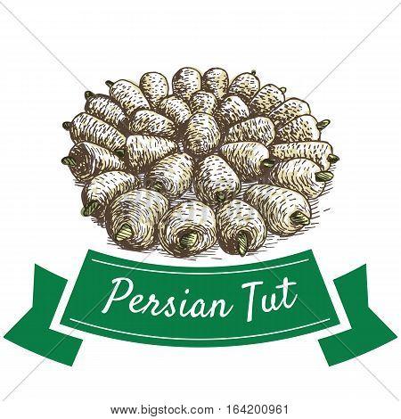 Persian Tut colorful illustration. Vector illustration of Persian cuisine.