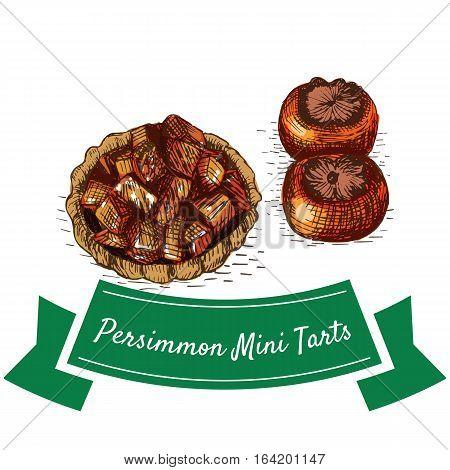 Persimmon Mini Tarts colorful illustration. Vector illustration of Persian cuisine.