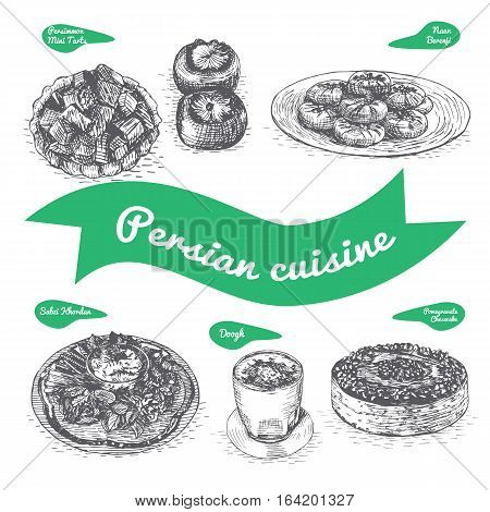 Monochrome vector illustration of Persian cuisine and cooking traditions