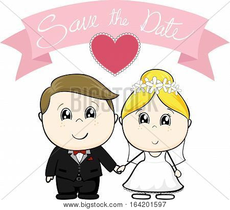cute young groom and bride in wedding dress with save the date text on pink banner isolated on white background