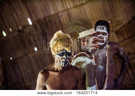Youw Village, Atsy District, Asmat Region, Irian Jaya, New Guinea, Indonesia - May 23, 2016: Portrai