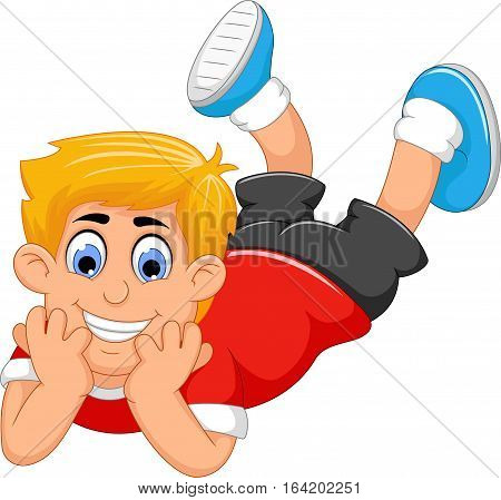 cute little boy cartoon prone for you design