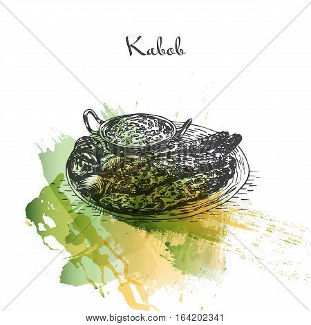 Kabob watercolor effect illustration. Vector illustration of Persian cuisine.