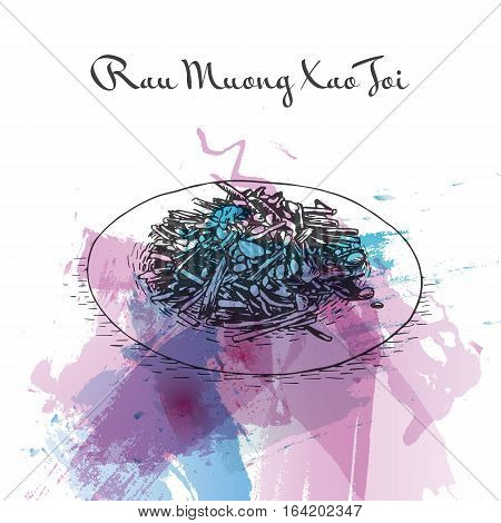 Rau Muong Xao Toi watercolor effect illustration. Vector illustration of Vietnamese cuisine.