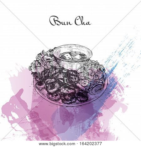 Bun Cha watercolor effect illustration. Vector illustration of Vietnamese cuisine.