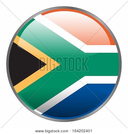 Round glossy isolated vector glow icon with national flag of South Africa on white background.