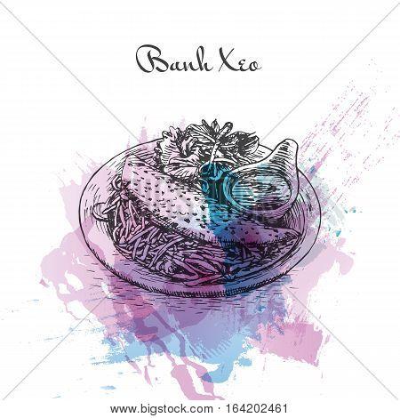 Banh Xeo watercolor effect illustration. Vector illustration of Vietnamese cuisine.