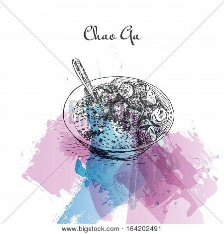 Chao Ga watercolor effect illustration. Vector illustration of Vietnamese cuisine. poster