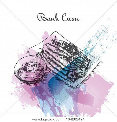 Banh Cuon watercolor effect illustration. Vector illustration of Vietnamese cuisine.