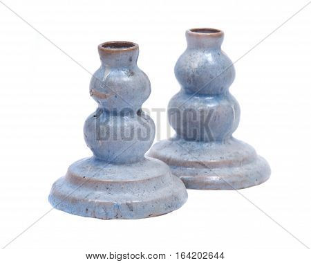 Blue clay ceramic candle holder isolated on white background