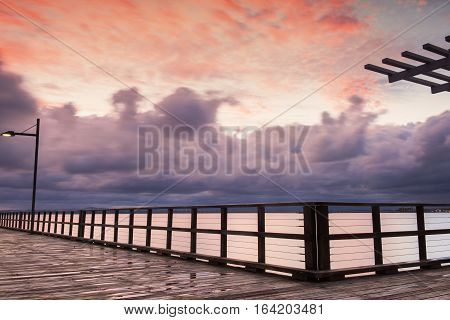 Woody Point Jetty in Redcliffe at sunset.