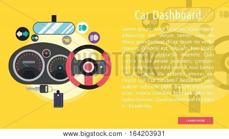 Car Dashboard Conceptual Banner | Great flat illustration concept icon and use for mechanic, car repair, industrial, transport, business concept, and much more.