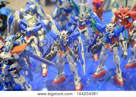 SEOUL SOUTH KOREA - OCTOBER 22, 2016: Gundam scale plastic model. Gundam is one of the most popular animation worldwide.