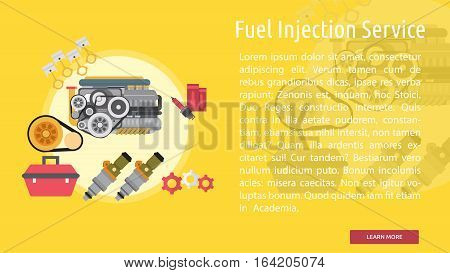 Fuel Injection Service Conceptual Banner | Great flat illustration concept icon and use for mechanic, car repair, industrial, transport, business concept, and much more.