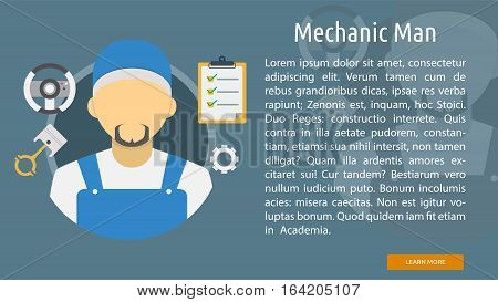 Mechanic Man Conceptual Banner | Great flat illustration concept icon and use for mechanic, car repair, industrial, transport, business concept, and much more.