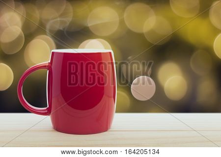 Red coffee cup, Good night or Have a happy day message concept
