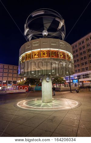 World Time Clock On Alexanderplatz, Berlin, At Night