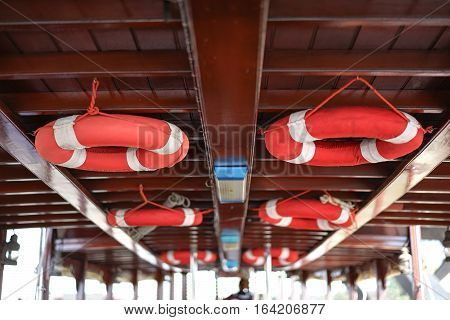 Red life ring on the ceiling boat