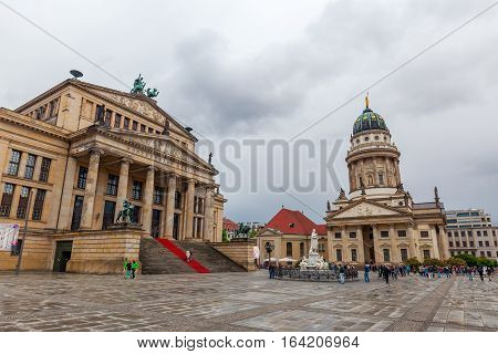 Gendarmenmarkt With Konzerthaus And French Cathedral In Berlin