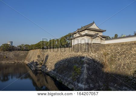 The Moat And The Corner Castle Of The Famous Osaka Castle