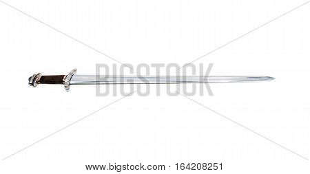 Replica of the beautiful stiklestad vikings sword on a white background.