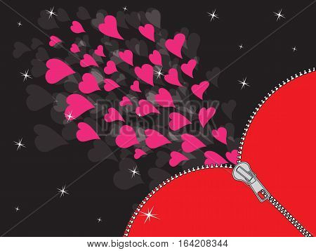 Abstraction from a zipper and red hearts on a black background