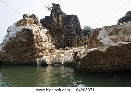 Marble rocks by Boat on River Narmada Bedaghat near Jabalpur Madhya Pradesh India Asia
