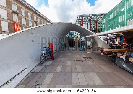 Entrance To A Bicycle Parking In Eindhoven, Netherlands