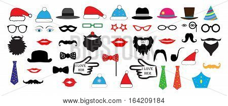 Christmas Retro Party set - Glasses hats lips mustaches masks - for design photo booth in vector illustration