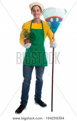 Gardener Gardner Flower Rake Gardening Garden Occupation Full Body Portrait Standing Isolated