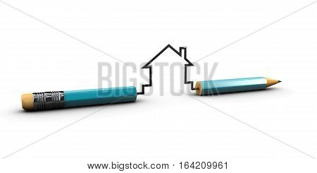 3d Illustration of Real estate model, with pencil and eraser  isolated white
