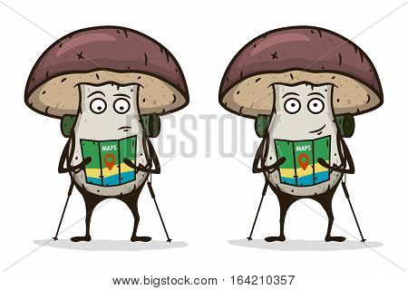 Mushroom traveler with a map and trekking pole. Cartoon character. Vector illustration