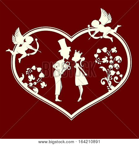 The design of the silhouette of the heart with the cupids, the two lovers Prince and Princess