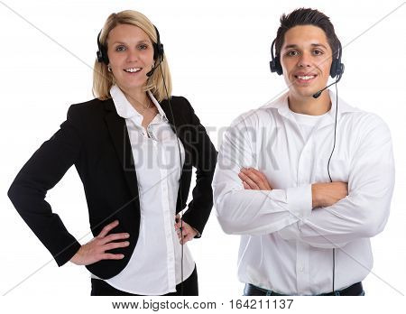 Call Center Agent Team Headset Telephone Phone Smiling Secretary Business Isolated