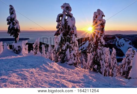 Ski runs at sunset. Cypress Mountain Porvincial Park. North Vancouver. British Columbia. Canada.