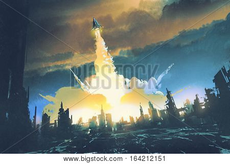 rocket launch take off from an abandoned city sci-fi concept, illustration painting