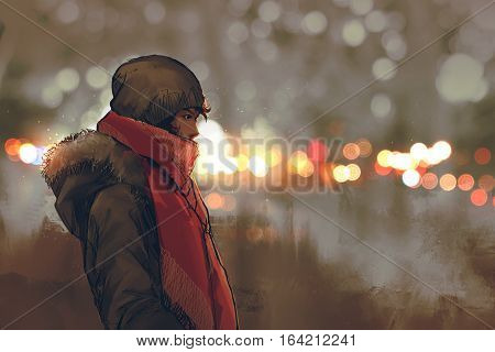 outdoor portrait of young man in winter with bokeh light on background, illustration painting