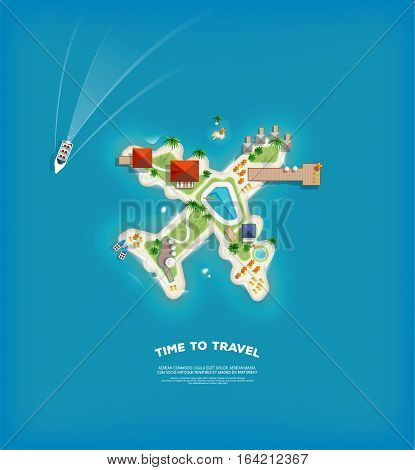 Creative poster with Island in the form of a aircraft. Vacation holiday banner. Top view of the island. Holiday trip. Travel and tourism.