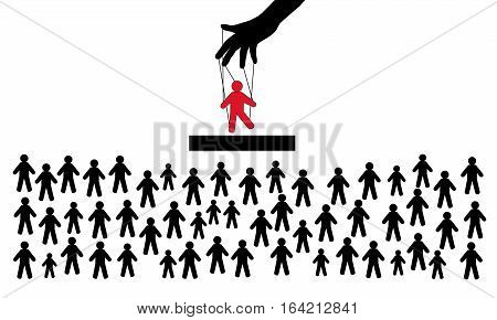 Hidden people management. Puppet in the hands of the manager. The crowd of spectators. Puppet show. Many people are looking at the stars of the show biz. vector illustration